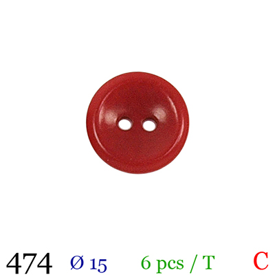 Bouton rouge 2 trous polyester 1