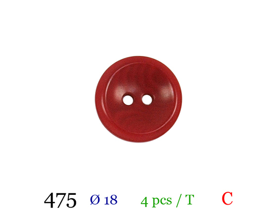 Bouton rouge 2 trous polyester 2