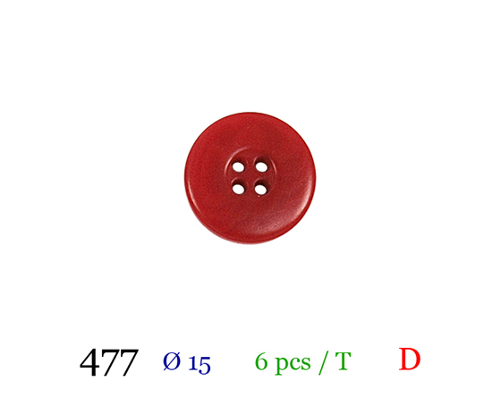 Bouton rouge 4 trous polyester 1