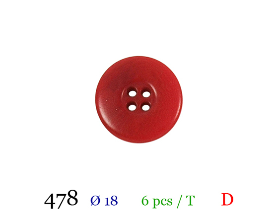 Bouton rouge 4 trous polyester 2