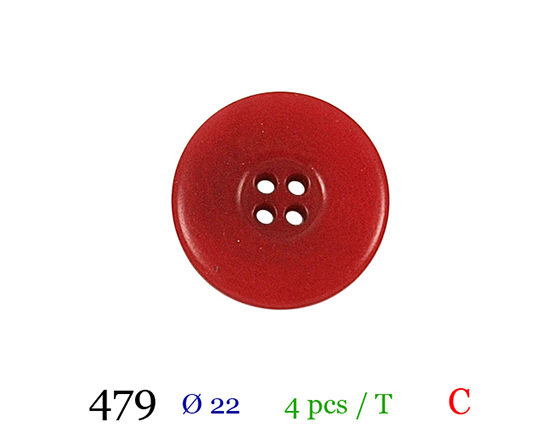Bouton rouge 4 trous polyester 3