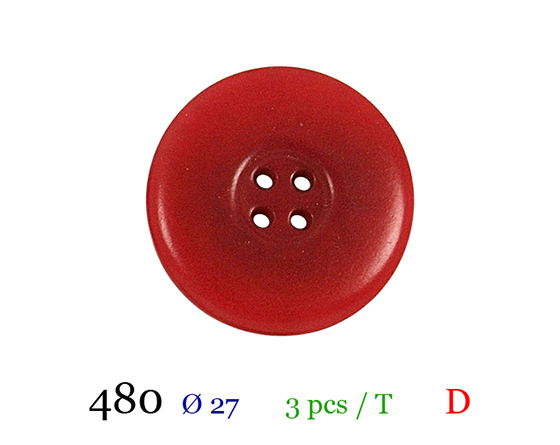 Bouton rouge 4 trous polyester 4