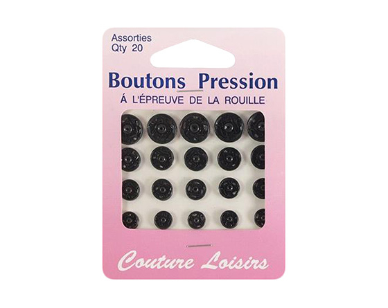 boutons pression métal rond taille assorties noir