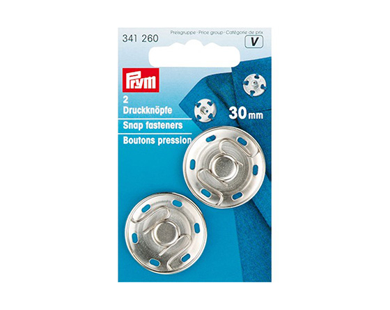 Boutons pression à coudre 30mm PRYM nickel