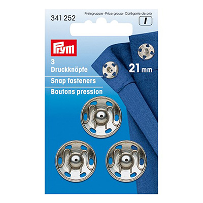 Boutons pression à coudre 21mm PRYM nickel