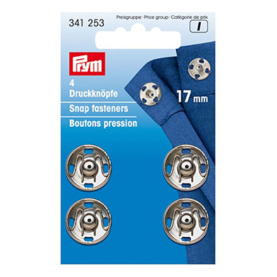Boutons pression à coudre 17mm PRYM nickel